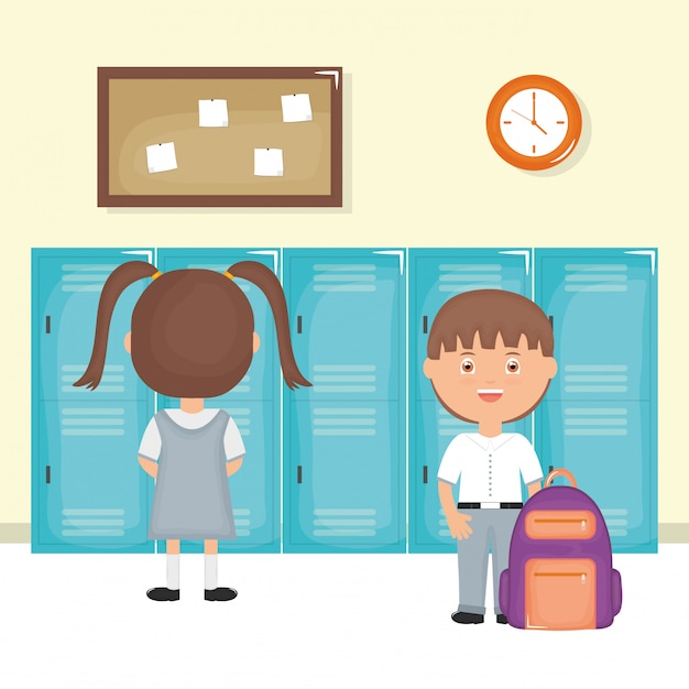 Cute little students couple in the school scene Free Vector
