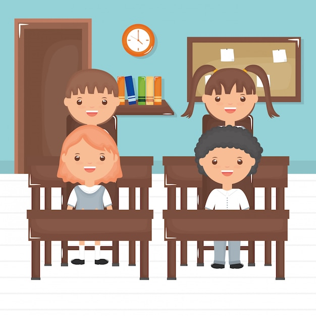 Cute little students group in the classroom Free Vector