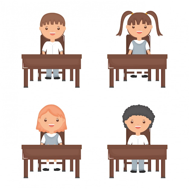 Cute little students group in the schooldesks Free Vector