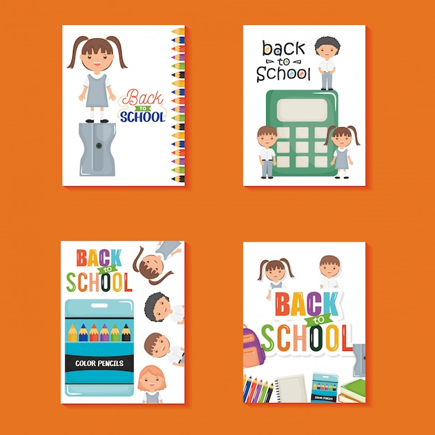 Cute little students in sheets notebook and supplies. back to school Free Vector