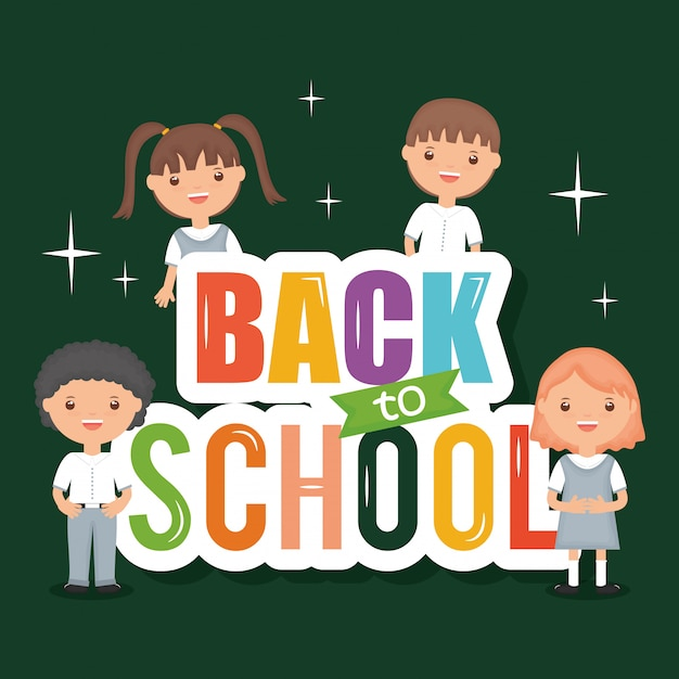 Cute little students with back to school message Free Vector