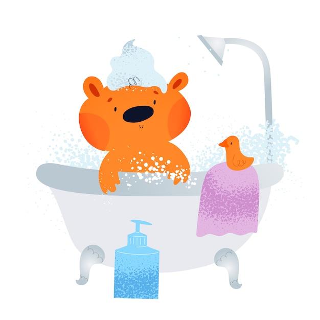 Милый маленький мишка принимает ванну с пузырьками, мылом и шампунем Premium векторы
