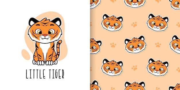 かわいい小さな虎のシームレスパターン Premiumベクター