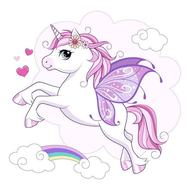 Cute little unicorn character with butterfly wings over pink Premium Vector