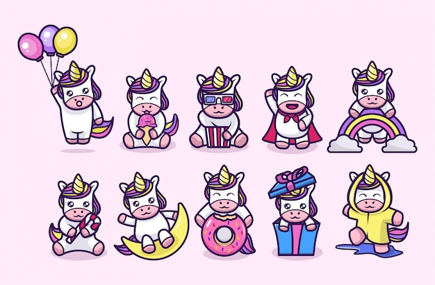 Cute little unicorn mascot design Premium Vector