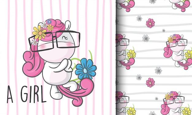 Cute little unicorn seamless pattern illustration childish Premium Vector