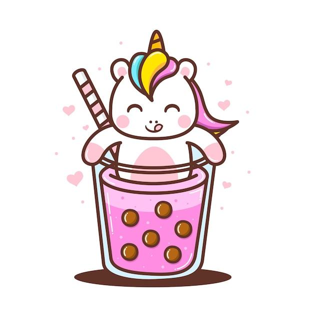 Cute little unicorn with cute bubble drink Premium Vector