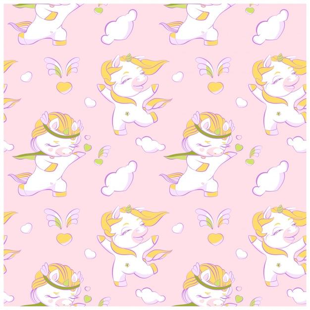 かわいい小さなユニコーンピンクのシームレスパターン Premiumベクター