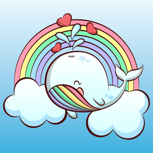 Cute little whale in the sky Premium Vector