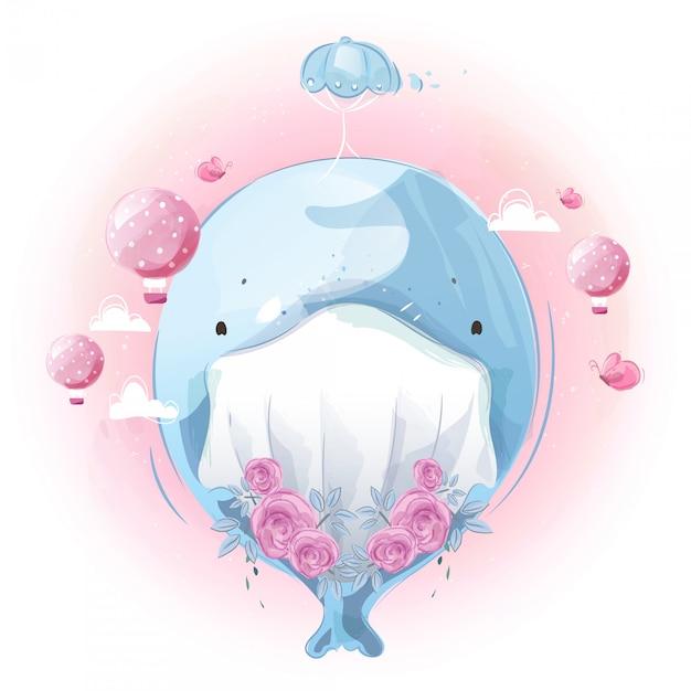 Милый маленький кит с его первой летной подготовки с воздушным шаром в ярком небе. Premium векторы