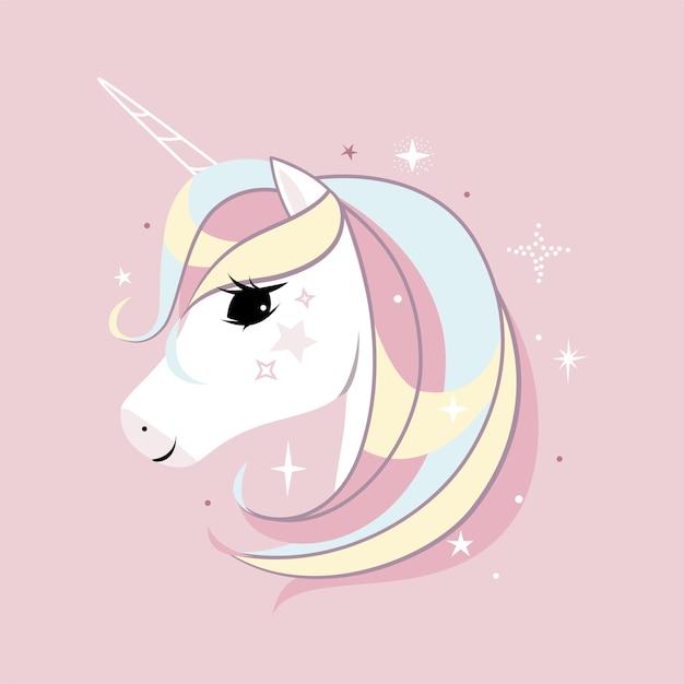 Cute little white unicorn. pastel soft colors. Premium Vector
