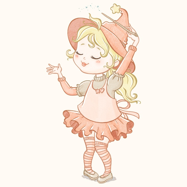 Cute little witch handrawn Free Vector