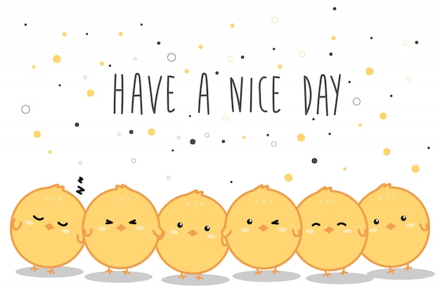 Cute little yellow chickens cartoon doodle banner background Premium Vector