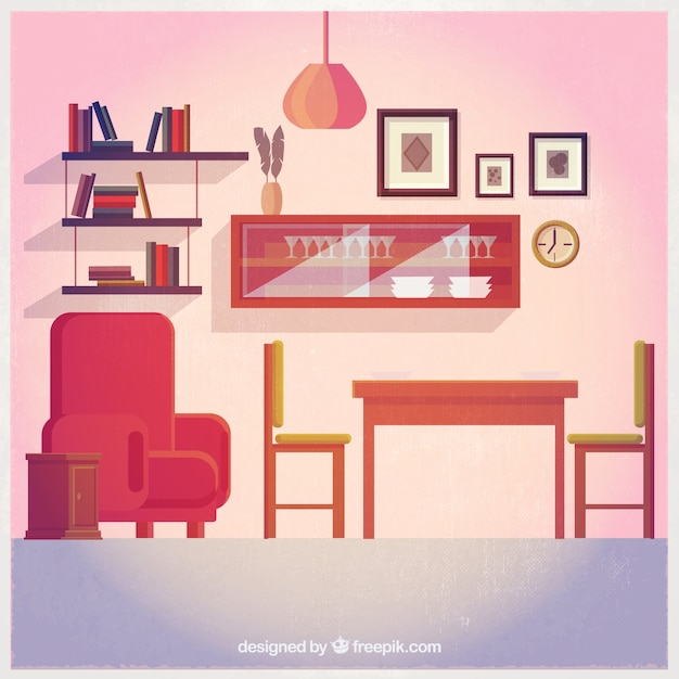 Cute Living Room Decoration Premium Vector