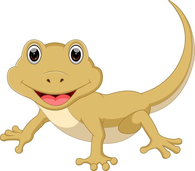 Cute lizard cartoon Premium Vector