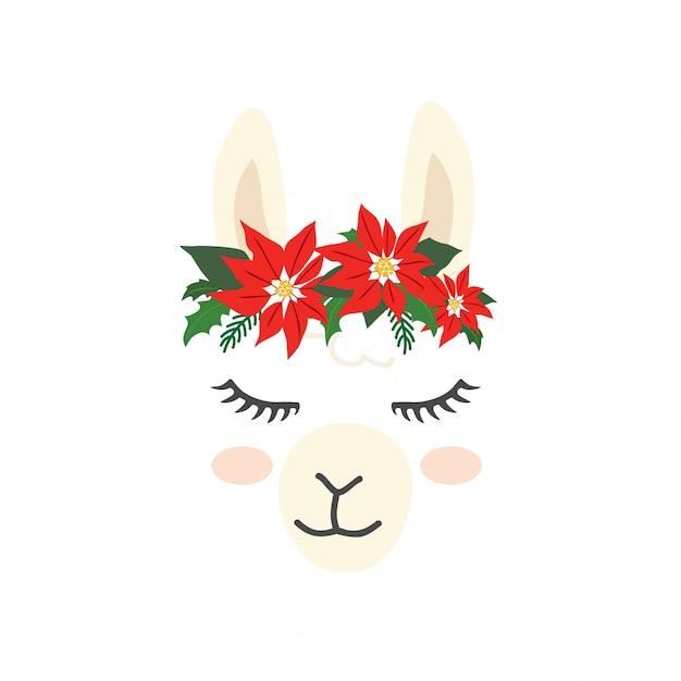 Cute llama alpaca character face for christmas Premium Vector