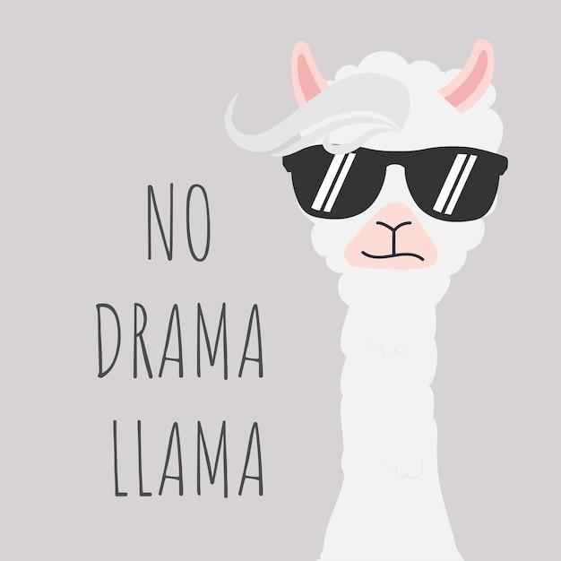 Cute llama design with no drama motivational quote. Premium Vector