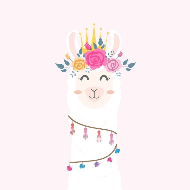 Cute llama head with flower crown.  Premium Vector