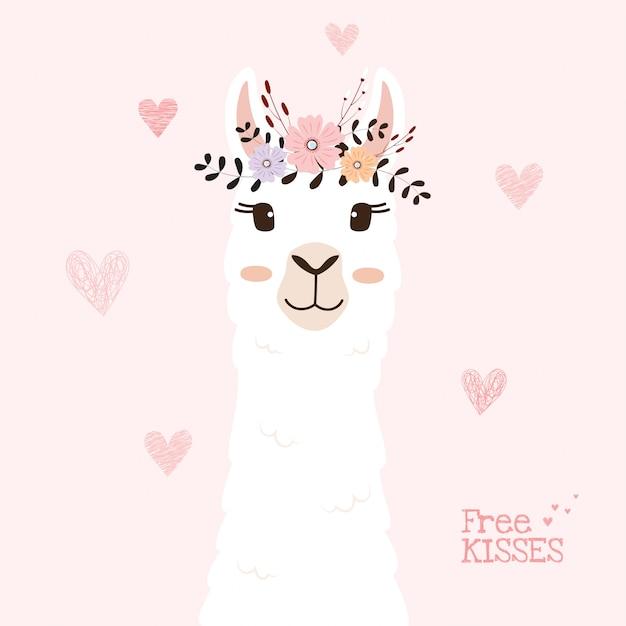 Cute llama head with flower crown. Premium Vector