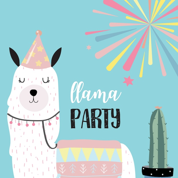 Cute llama invitation for kid Premium Vector