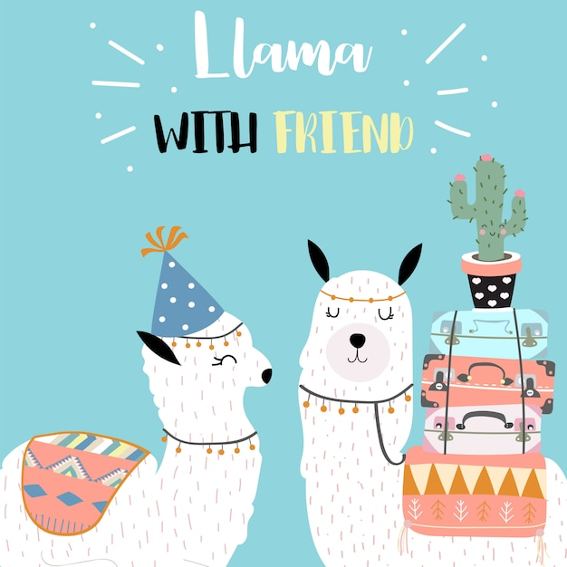 Cute llama invitation for kid Premium Vector