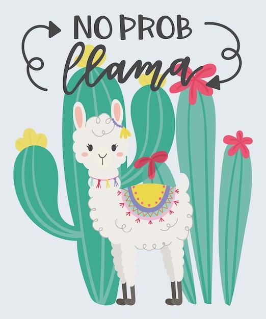 Cute llama in the wild. Premium Vector