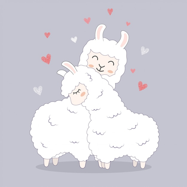 Cute llamas for greeting wedding card invitation. Premium Vector
