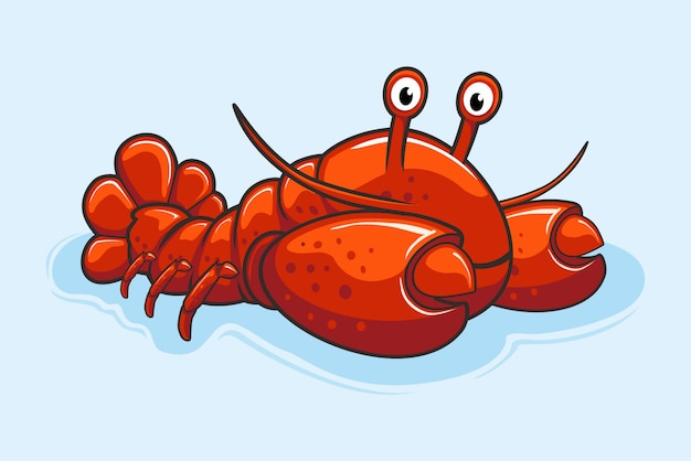 Cute lobster cartoon shrimp sea food animals Premium Vector