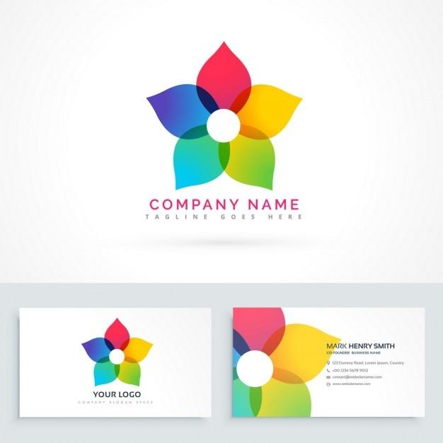 logo carte de visite Cute logo with a colorful flower   Free Vector