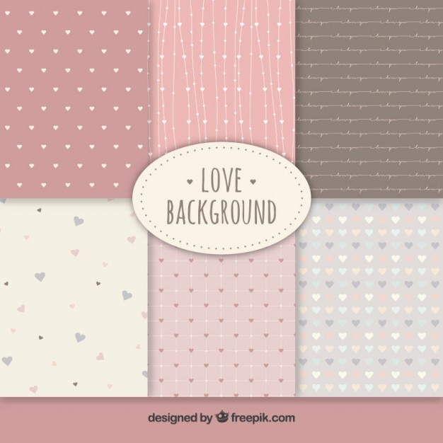 Cute love backgrounds collection Premium Vector