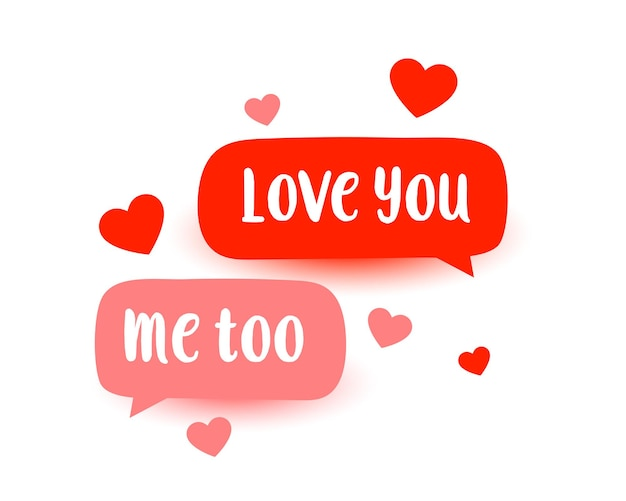 Симпатичное любовное сообщение с сердечками Бесплатные векторы