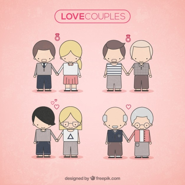 Cute Love Couples Vector Free Download