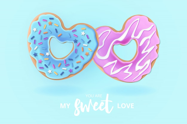 Cute love donut background with love message Free Vector