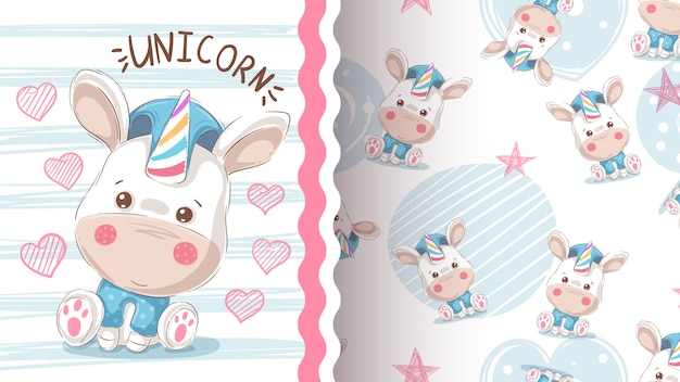 Cute love unicorn - seamless pattern Premium Vector