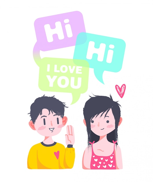 Cute love valentine couple doodle Premium Vector