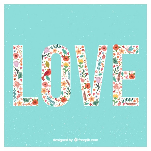 Cute Love Word With Colored Flowers Free Vector