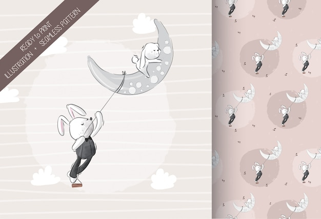 Cute lovely bunny on the moon with seamless pattern Premium Vector