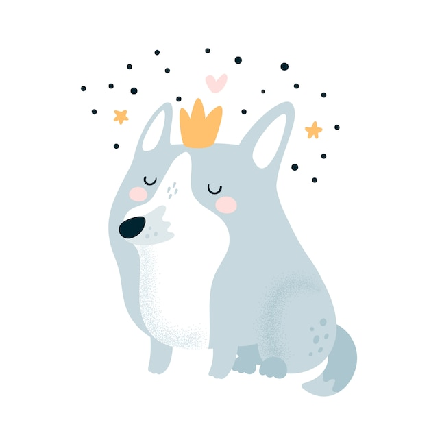 Premium Vector Cute Lovely Cartoon Dog In Crown Vector cartoon illustration of a traditional set of fast food me red dogs. https www freepik com profile preagreement getstarted 4293322