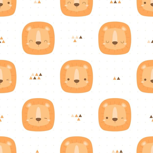 Cute lovely lion head cartoon doodle seamless pattern Premium Vector
