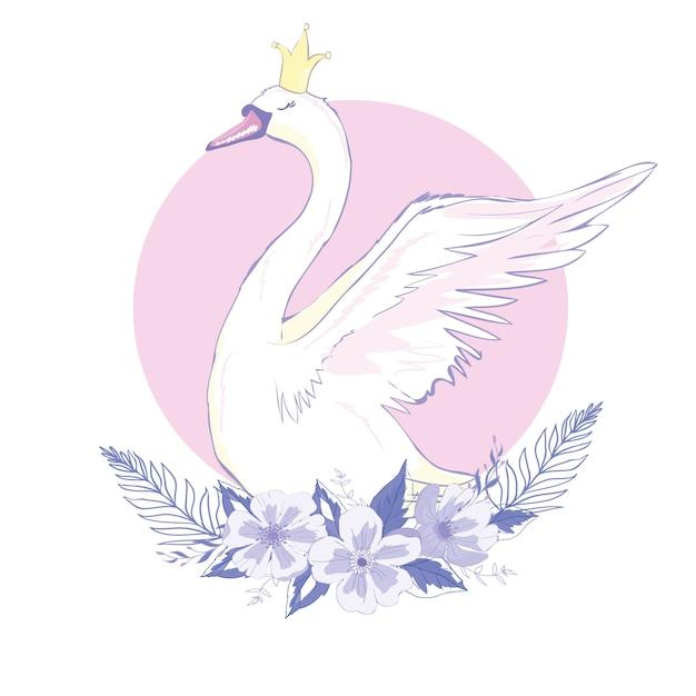 Cute lovely princess swan, , illustration Premium Vector