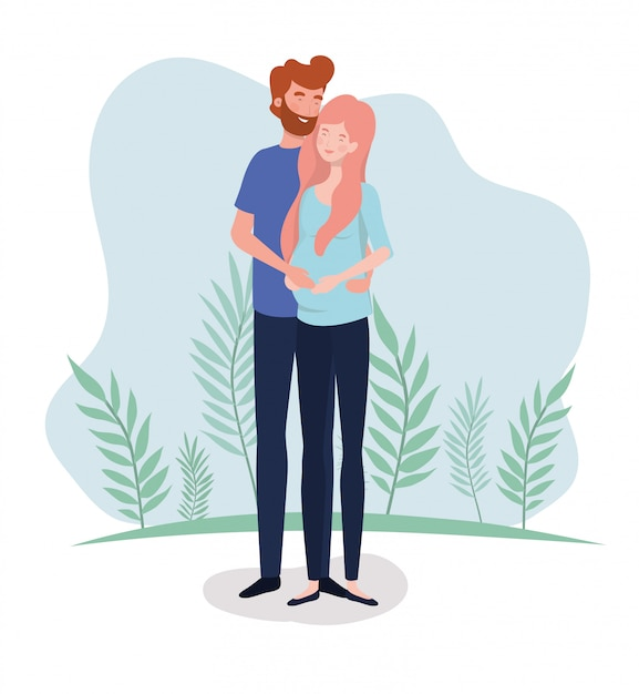 Cute lovers couple pregnancy characters in the landscape Free Vector