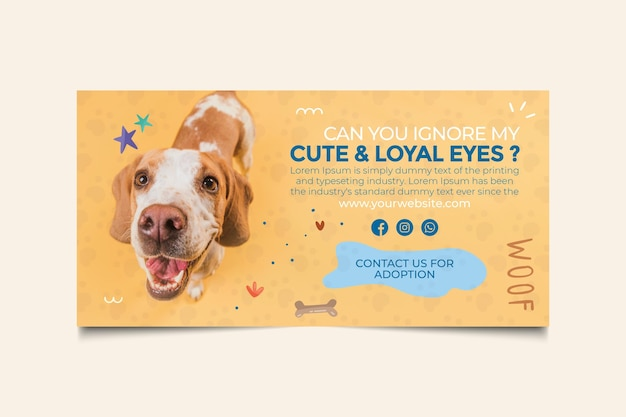 Cute and loyal eyes adopt a pet banner template Free Vector