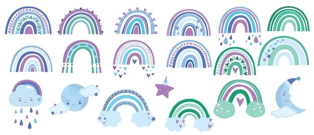 파스텔 색상의 구름, 무지개, 별, 태양 및 달이있는 귀여운 마크라메 세트 항목. 프리미엄 벡터