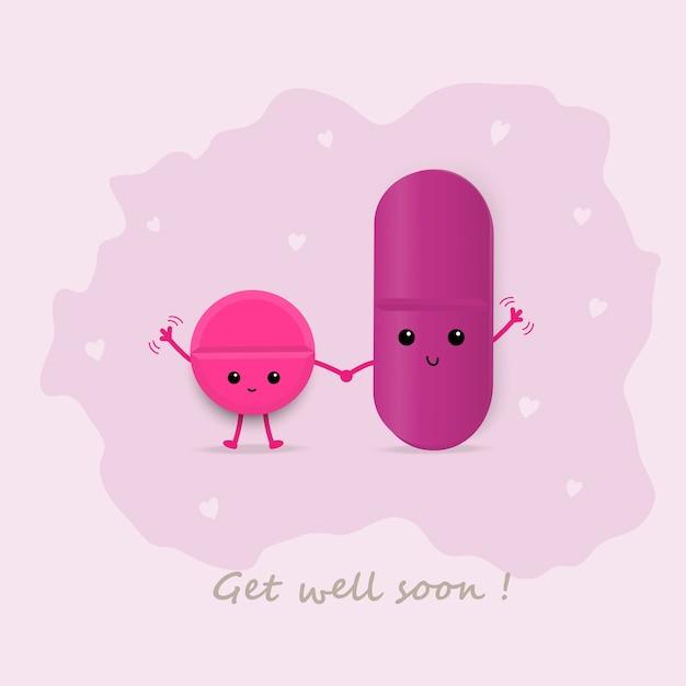 cute magenta pills waving get well soon card vector premium download