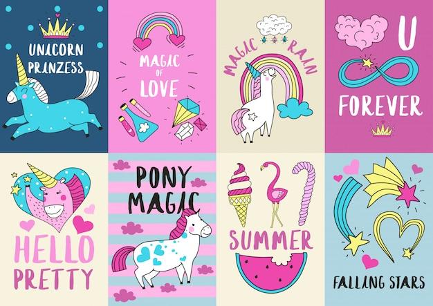 Cute magic card illustration set Free Vector