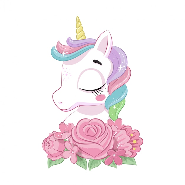 Cute magical unicorn with flowers.  illustration for baby shower, greeting card, party invitation, fashion clothes t-shirt print. Premium Vector