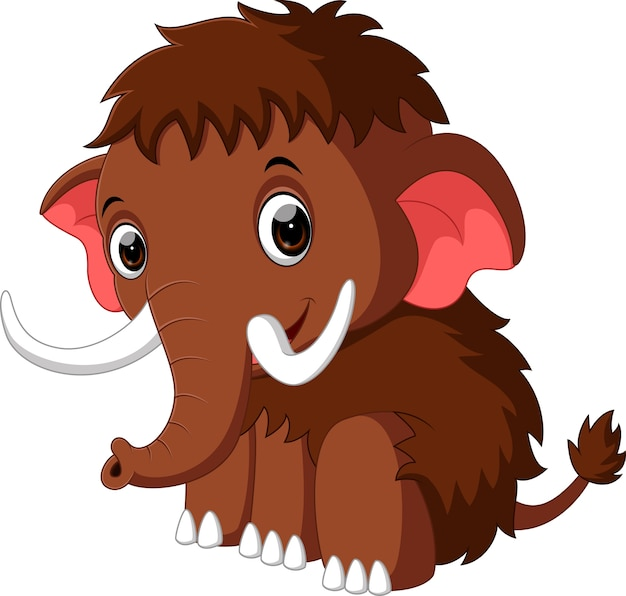 Cute mammoth cartoon | Premium Vector