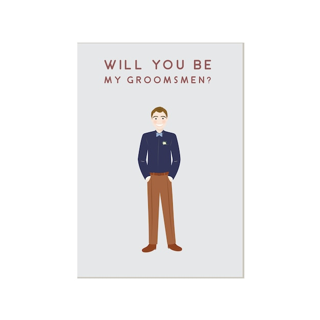 Cute man cartoon character groomsmen invitation Premium Vector
