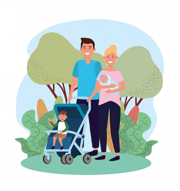 Cute man and woman with their son in the stroller Premium Vector