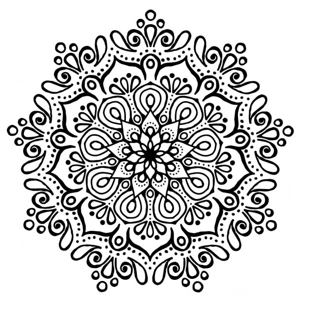 cute mandala without color free vector
